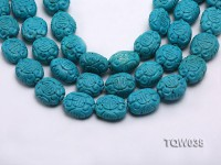 Wholesale 25x30mm Oval Blue Carved Turquoise Beads String