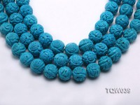 Wholesale 17mm Round Blue Carved Turquoise Beads String