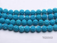 Wholesale 13mm Round Blue Carved Turquoise Beads String