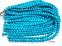 Wholesale 8.3mm Round Blue Faceted Turquoise Beads String