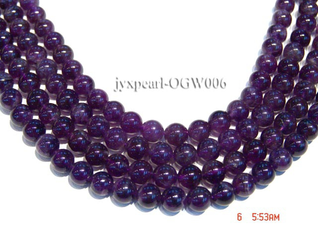 Wholesale 8mm Round Translucent Amethyst Beads String