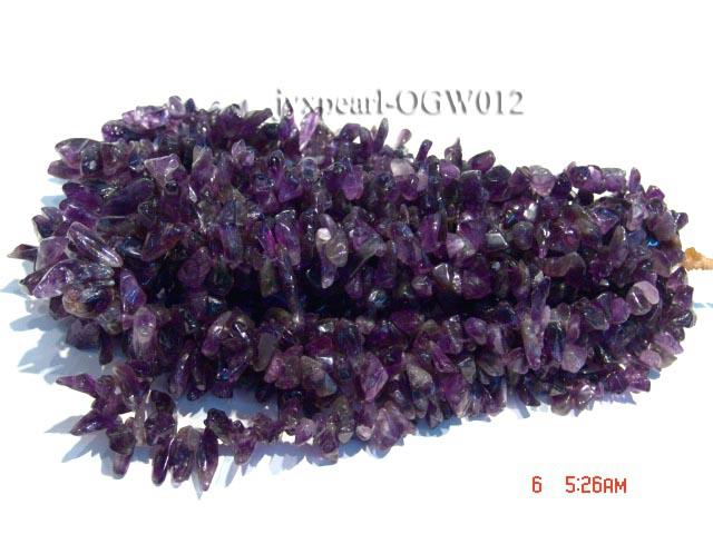 Wholesale 8x15mm Irregular Translucent Amethyst Chips String