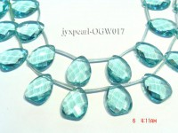 Wholesale 22x30mm Drop-shaped Transparent Faceted Simulated Aquamarine Pieces String
