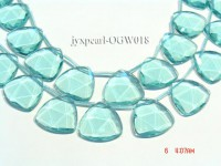 Wholesale 28mm Triangular Transparent Faceted Simulated Aquamarine Pieces String
