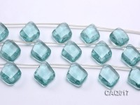 Wholesale 25x35mm Rhombic Transparent Faceted Simulated Aquamarine Pieces String