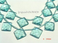 Wholesale 20mm Square Transparent Faceted Simulated Aquamarine Pieces String