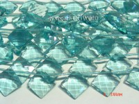 Wholesale 20mm Square Transparent Faceted Simulated Aquamarine Pieces String