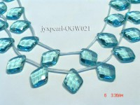 Wholesale 22x30mm Diamond-shaped Transparent Faceted Simulated Aquamarine Pieces String