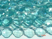 Wholesale 25mm Flower-shaped Transparent Simulated Aquamarine Pieces String