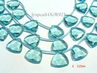 Wholesale 25mm Triangular Transparent Simulated Aquamarine Pieces String