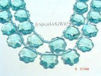 Wholesale 26mm Flower-shaped Transparent Faceted Simulated Aquamarine Pieces String