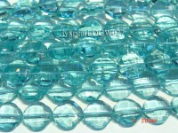 Wholesale 15mm Flower-shaped Transparent Faceted Simulated Aquamarine Pieces String