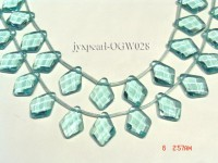 Wholesale 18x26mm Diamond-shaped Transparent Faceted Simulated Aquamarine Pieces String