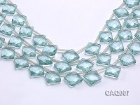 Wholesale 15mm Square Transparent Faceted Simulated Aquamarine Pieces String