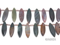 wholesale 17x45mm irregular moss agate piece strings