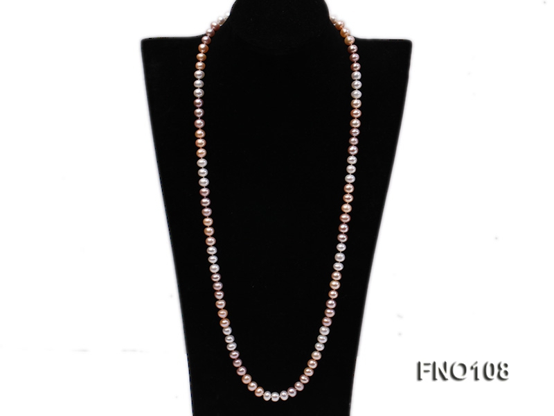 8.5-9.5mm natural multicolor flat freshwater pearl opera necklace