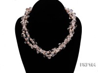 Two-strand Pink Freshwater Pearl and Crystal Beads Necklace