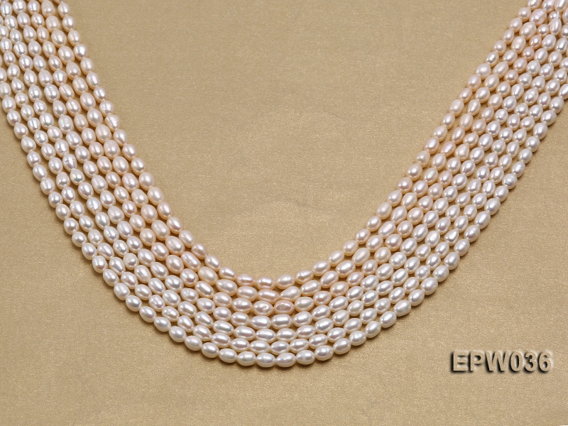 Wholesale 4.5X6mm  Rice-shaped Freshwater Pearl String