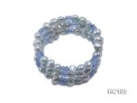 3 strand bule freshwater pearl and crystal bracelet