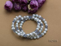 3 strand bule freshwater pearl and crystal bracelet