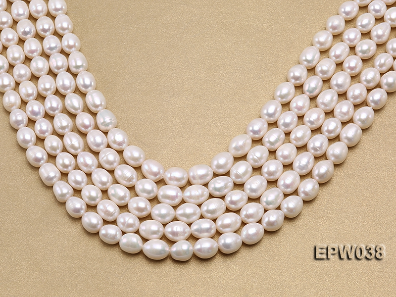 Wholesale 9X11mm Classic White Rice-shaped Freshwater Pearl String