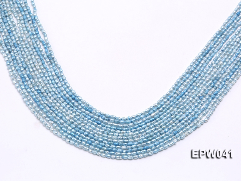 Wholesale 3×3.5mm  Blue Rice-shaped Freshwater Pearl String