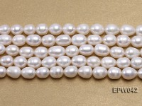 Wholesale 7.5x10mm Classic White Rice-shaped Freshwater Pearl String