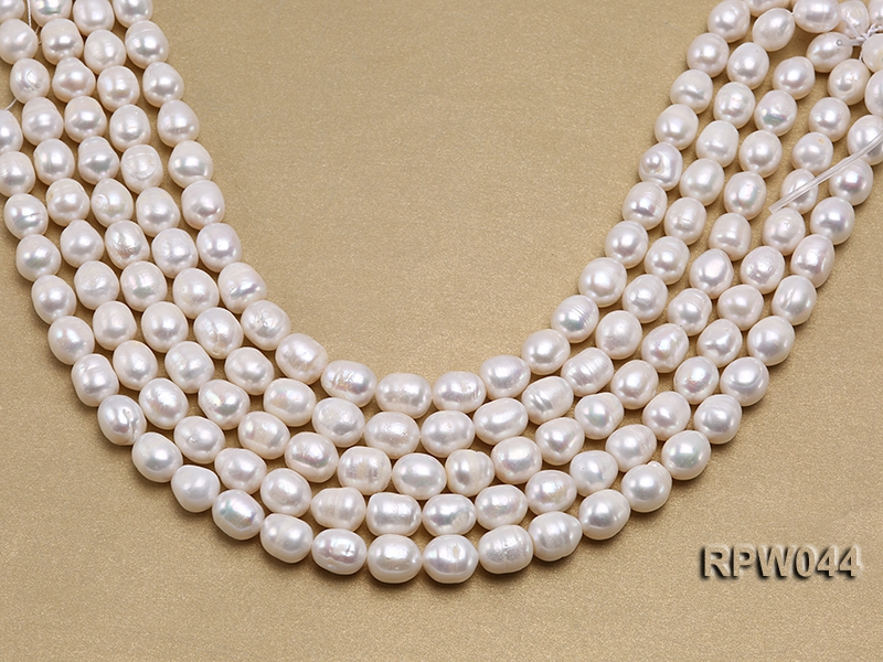 Wholesale 10.5x12mm Classic White Rice-shaped Freshwater Pearl String