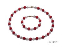 7-8mm White Freshwater Pearl & Red Coral Beads Necklace and Bracelet Set