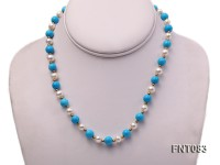 7-8mm White Freshwater Pearl & Blue Turquoise Beads Necklace and Bracelet Set