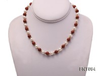7-8mm White Freshwater Pearl and Goldstone Beads Necklace and Bracelet Set