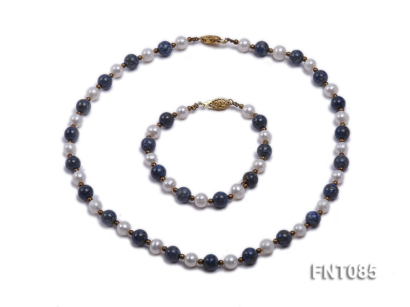 7-8mm White Freshwater Pearl & Lapis Lazuli Beads Necklace and Bracelet Set