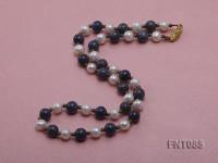 7-8mm White Freshwater Pearl & Lapis Lazuli Beads Necklace and Bracelet Set