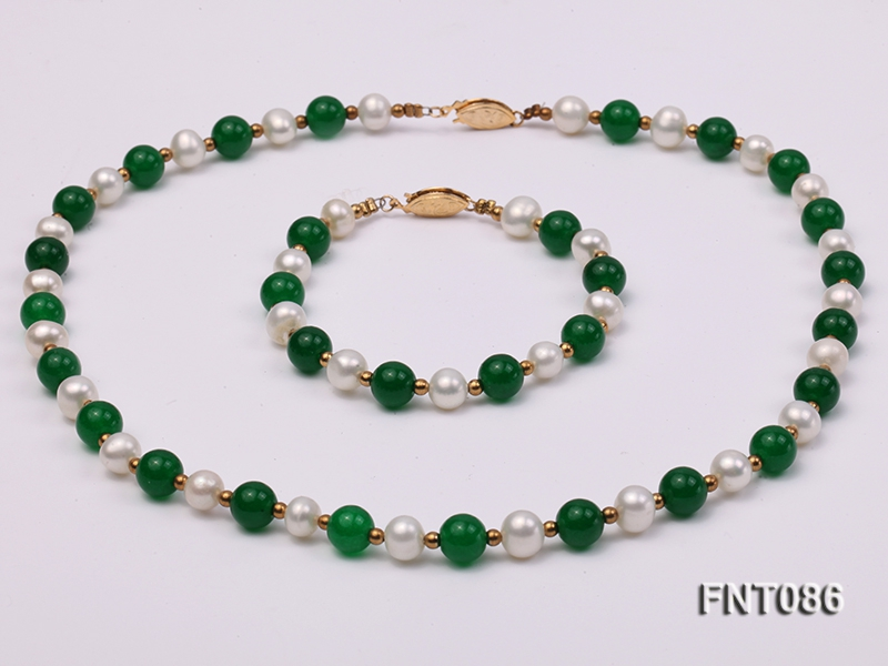 7-8mm White Freshwater Pearl & Green Jade Beads Necklace and Bracelet