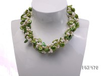 Four-strand 5-6mm White Freshwater Pearl and Green Button Pearl Necklace