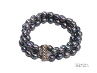 3 strand 8-9mm black oval freshwater pearl bracelet