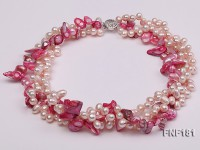 Three-strand 7×8 White Freshwater Pearl and Pink Baroque Pearl Necklace