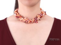 Three-strand 7×8 Orange Freshwater Pearl and Dark-red Baroque Pearl Necklace