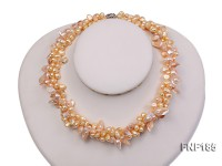 Three-strand 7x8mm Yellow Freshwater Pearl and Pink Tooth-shaped Pearl Necklace