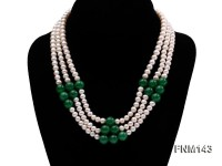 3 strand 6-7mm white freshwater pearl and jade freshwater pearl necklace