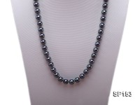 10mm shiny black round seashell pearl necklace