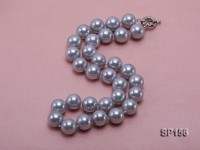 14mm silver grey round seashell pearl necklace