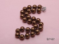 14mm brown round seashell pearl necklace