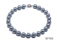 16mm grey round seashell pearl necklace