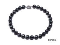 14mm shiny black round seashell pearl necklace