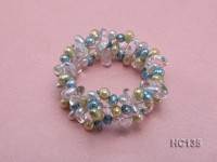 3 strand colorful freshwater pearl and crystal bracelet