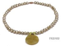 6-7mm Yellowish Green Freshwater Pearl Necklace with Gemstone Pendant