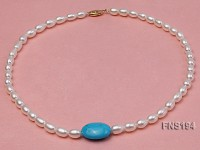 7-8mm natural white rice freshwater pearl with rice blue turquoise necklace