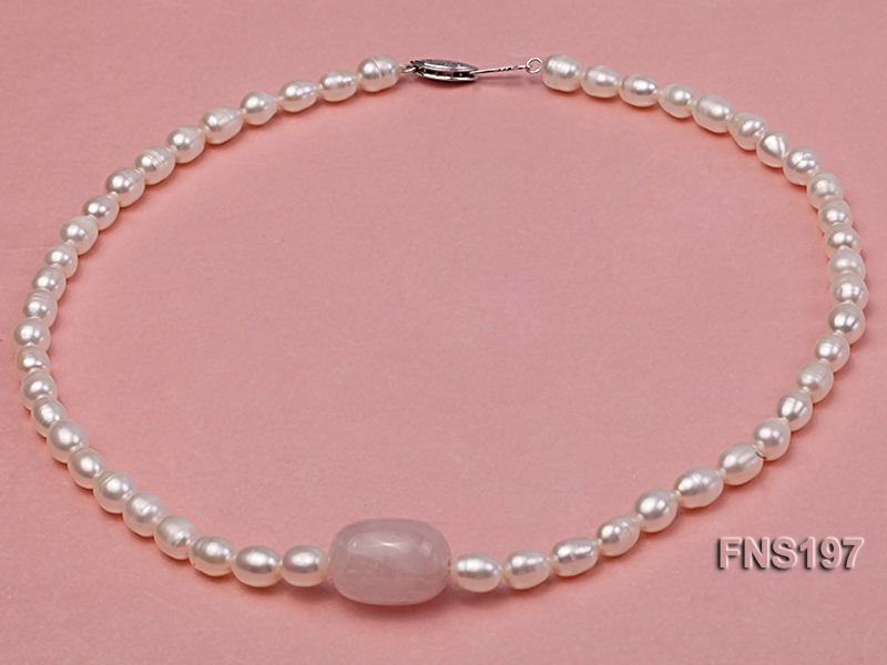 7-8mm natural white rice freshwater pearl with rose quartz single strand necklace