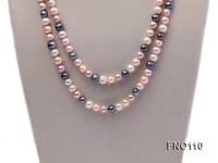 9-10mm multicolor round freash water pearl necklace